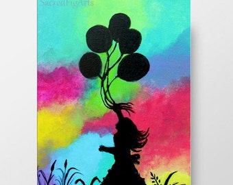 girl modern painting, bright wall art, multicolor kids room decor, nursery balloons, 8x10, small happy artwork, ready to hang canvas, black