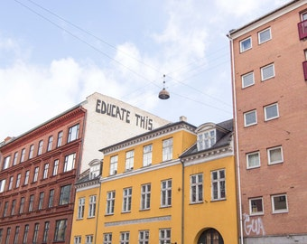 Copenhagen, Denmark, Colorful, Bright, Education, Educate This, Mural, Europe, Wall Art, Print, Fine Art, Photograph, Architecture