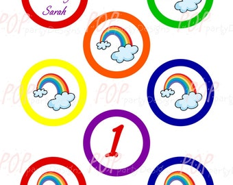 Personalized Rainbow Birthday Cupcake Toppers, Printable, Digital File