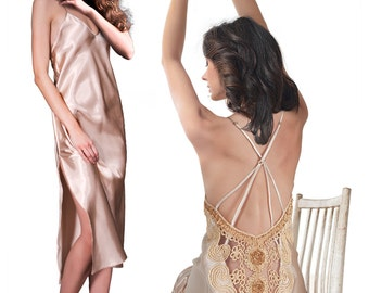 Satin Long Gown & G-String Set