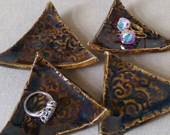 set of 4 ring trays, bridal party gift, trinket dish, tea bag holder