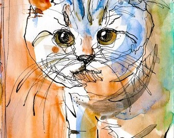 Watercolour Cat Digital Painting
