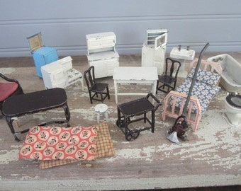 Vintage Tootsie Doll House Furniture Lot Vintage Metal Dollhouse Furniture Toostsie Toys