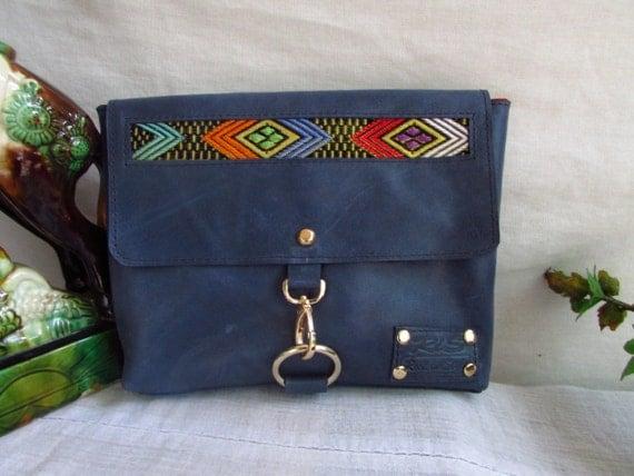 Vintage look clutch, blue leather clutch, women leather wallet, distressed leather clutch, leather handbag