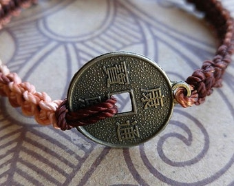 Chinese Coin Charm Bracelet on Adjustable Nylon Thread