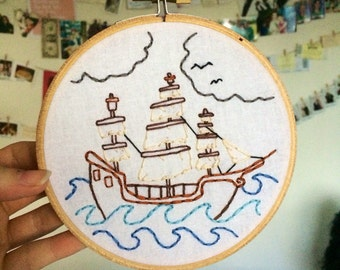 Ship Embroidery Hoop Art 12.5cm