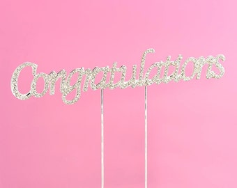 Congratulations Diamante Rhinestone Cake Topper Pick - Party, Celebration