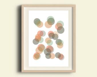 Circle art, printable circle print, dot art, instant download printable art, abstract art, digital home decor, colorful wall art, polka dots