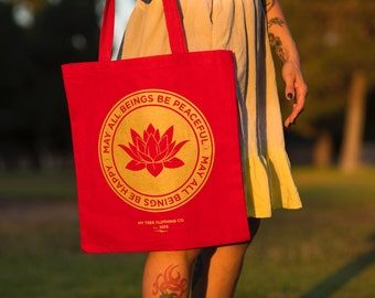 May All Beings Be Peaceful & Happy- Yoga Bag / Reusable Shopping  Bag / Book Bag / Canvas Tote / Shoulder Bag