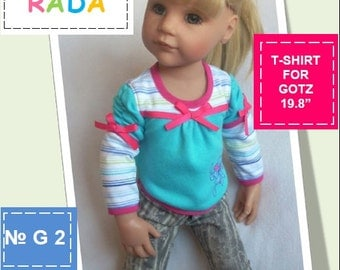T-shirt pattern for 19,8 inch dolls (for Gotz or similar measurements doll)