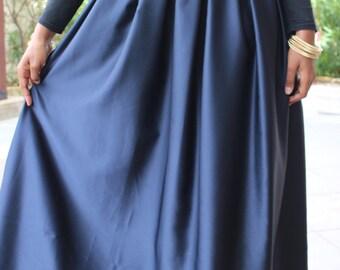 Navy blue box pleated silky maxi skirt