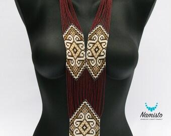 Bead Necklace Beaded Necklace Ukrainian Boho Gipsy Jewelry Handmade Costume Jewelry Gift Vyshyvanka Colliers Necklace - Scarlet Gerdan