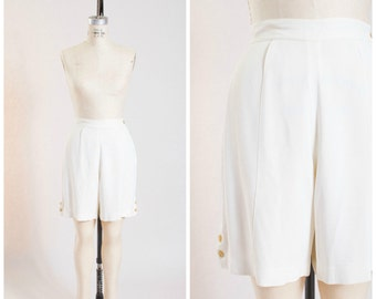 1940s Vintage Shorts White Celanese Rayon Pin Up High Waisted Vintage 40s Shorts Size Small