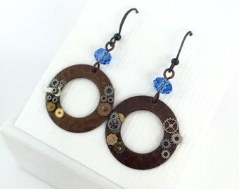 Steampunk Disk Earrings