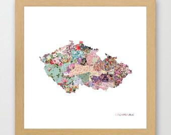 CZECH REPUBLIC MAP print, czech republic painting, map of czech republic, Painting of czech republic, Vietnam poster, Giclee Fine Art
