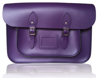 "14"" Classic Leather Satchel 100% Real Leather - Purple"