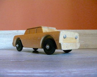 ChildCraft Solid Wood Toy Car, Wood Toy Collectable, Vintage Nursery Child's Room Decor