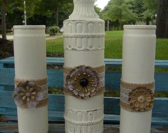 Shabby Chic Vase and Candles, Set of 3, Vase & Candles, Candles, Rustic Candle Set, Wedding Vase, Wedding Candles, Rustic Candles