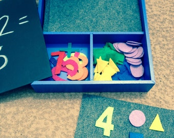 Counting/Number Recognition/Sorting Chalkboard Box