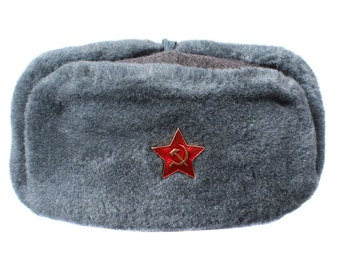 Russian winter fur Hat Ushanka Soldiers of Soviet Army