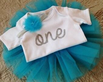 First Birthday Outfit Girl-Tutu-Smash Cake-Silver One-Glitter Onesie-Photo Prop-Baby Gift-Bodysuit-Aqua Blue Tutu-Headband-Flower-Frozen