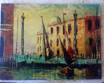 Small Mid Century Impasto Oil Painting signed 'LEE'-sail boats in harbor