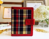 Leather planner red and plaid designer fabric, A6 leather binder, A6 planner, A6 filofax binder, personal leather planner, 6 ring planner