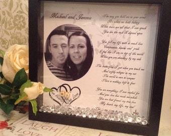 Personalised Picture Photo Box Frame Love Poem Anniversary Gift Keepsake Birthday