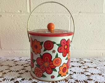 Very vintage 70's tin container made in England