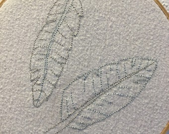 Two Embroidered Feathers Wall Hanging