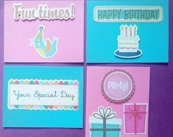 ON SALE Children's Blank Birthday Card & Envelope Set - 4 - Fun - Colourful - Raised - Standard Size