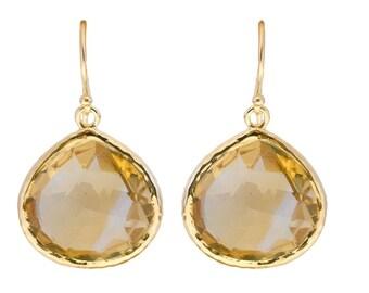 Citrine Teardrop Earrings - Sterling Silver Gilded