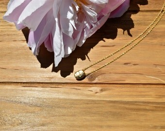 GD 005- Matte Gold Plated Coffee Bean Pendant Necklace