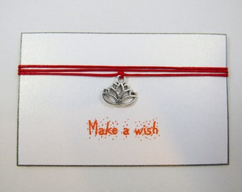 Yoga Lotus Bracelet, Yoga Bracelet, Wish Bracelet, Lotus Charm Bracelet, Friendship Bracelet, Lotus Jewelry, Yoga Wish, Zen Bracelet, BFF