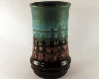 Purple/green Strehla vase, east german pottery, 1960's or 70's