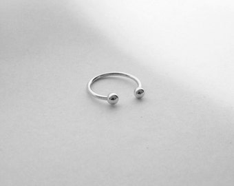 Sterling Silver Adjustable Round Barbell Ring Midi