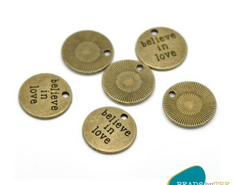 10 x Believe in Love Positive Affirmation Charms | CHBILPA1