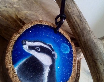 badger  original oil painting on wood pendant slice