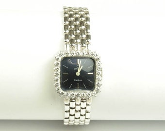 Omega Ladies Mechanical 18K White Gold Diamond Watch