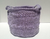Purple crocheted storage bin, baby storage basket, kids room decor home organization, crochet storage container, nursery organization