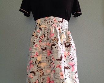 Butterfly print half apron, women's half apron, retro apron, apron for grandma, vintage apron
