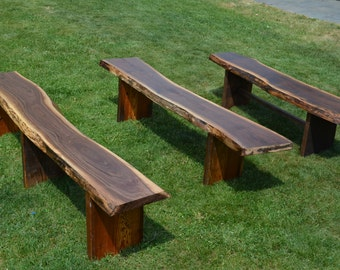 Reclaimed Wooden Benches, Outdoor Garden Benches, Live Edge