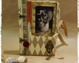Harlequin handmade quirky little book /Journal / Diary/ Scrapbook