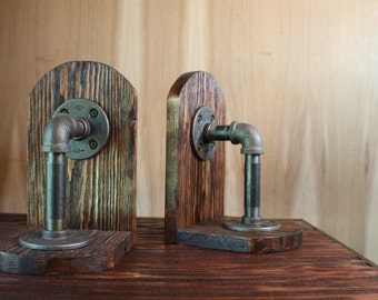 Industrial Book Ends, Steampunk Book Ends, Game Holders, CD Holder, Pine Wood Book Ends, Pipe Book Ends