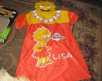 Buy Today! Rare 1990 Vintage Lisa Simpson TV Show Halloween Costume and Mask, Never Worn!