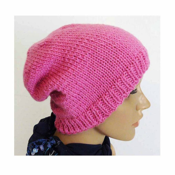 Knitting PATTERN Knit Slouchy Beanie Pattern Womens Knit