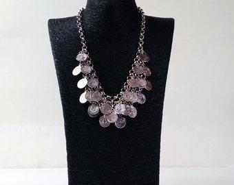 Silver Boho Coin Charmed Necklace, Boho Jewelry, Kuchi Necklace, Bohemian Style