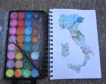 Map of Italy   Wall Art   Watercolour illustration   A5   Italian Landmarks