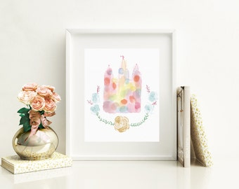 Salt Lake City LDS Temple- Wall Art Decor, Instant Download, Watercolor Quote Print