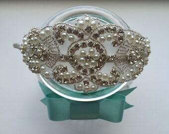 Bride bridal bridesmaid Pearl rhinestone and beaded vintage style side headband